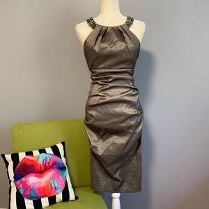 Cache Ruched Metallic Midi Dress C9